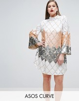 Asos RED CARPET Diamond Fluted Mini Dress