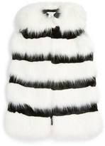Little Marc Jacobs Stripe Faux Fur Vest (Little Girls & Big Girls)