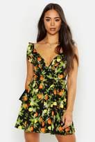 boohoo Woven Ruffle Wrap Fruit Print Mini Dress