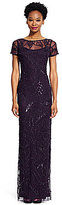 Adrianna Papell Illusion Beaded Column Gown