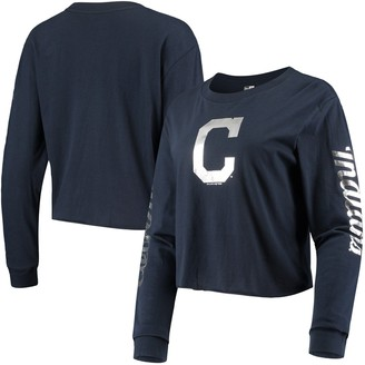 New Era Women's Navy Cleveland Indians Baby Jersey Long Sleeve Cropped T-Shirt