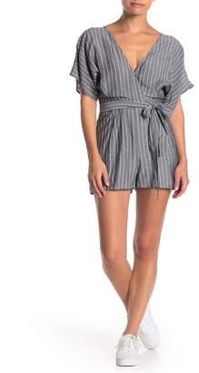 HYFVE Stripe Print Short Kimono Sleeve Romper