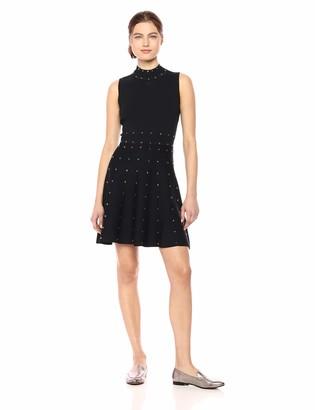 Parker Women's Joy High Neck Fit to Flare Studded Knit Dress