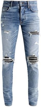 Amiri 15cm Mx1 Cotton Denim Jeans W/ Leather
