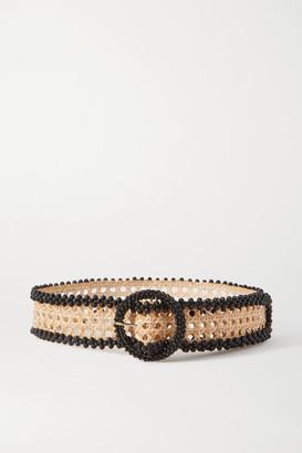 Rosantica Mamba Bead-embellished Wicker Waist Belt - Neutral