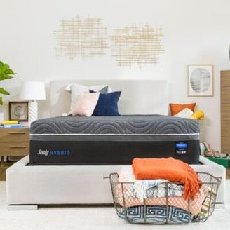 """Sealy Hybrid Premium Silver Chill Cooling 14"""" Plush Mattress and Box Spring Mattress Size: Queen, Box Spring Height: Standard Profile (9"""")"""