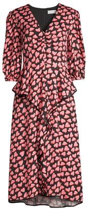 Rebecca Vallance Hotel Beau Frill Heart Print Midi Dress