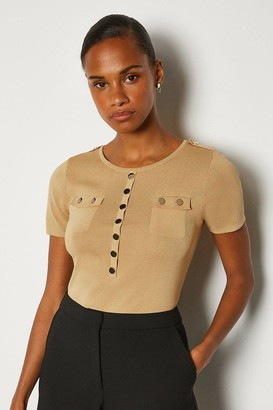 Karen Millen Gold Button Short Sleeve Knitted Top