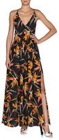 Fendi Bird of Paradise Crisscross-Back Ruffled Dress, Multi Colors