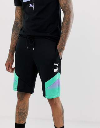 Puma x MTV colour block shorts in black