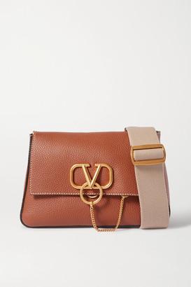 Valentino Garavani Vring Textured-leather Shoulder Bag - Brown