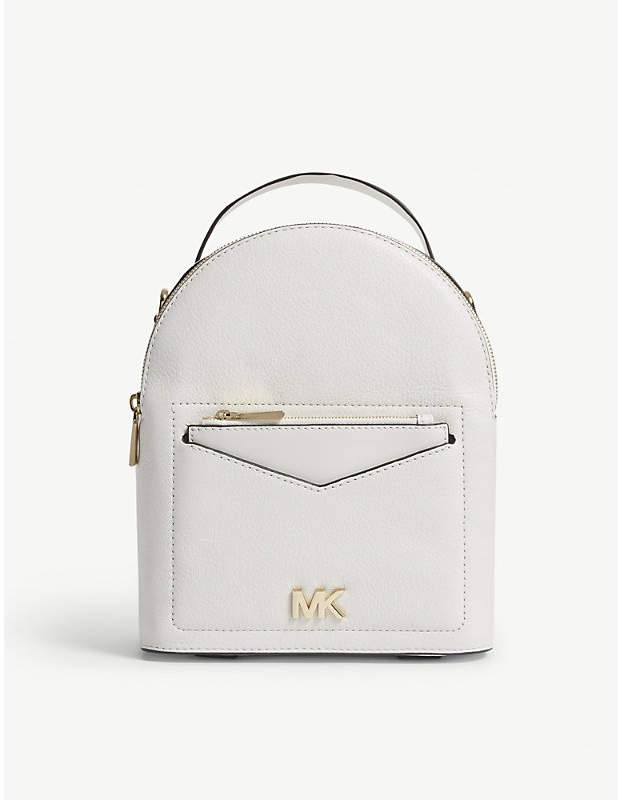 MICHAEL Michael Kors Michael Kors White Jessa Small Leather Cross Body Backpack