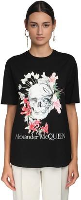 Alexander McQueen SKULL LOGO COTTON JERSEY SLIM T-SHIRT