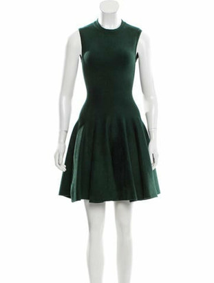Alaia Fit and Flare Velvet Dress green