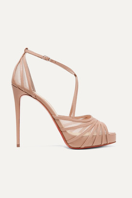 Christian Louboutin Filamenta 120 Leather And Mesh Sandals - Beige