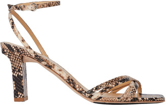 AEYDĒ Annabella Python-Embossed Sandals
