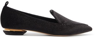 Nicholas Kirkwood Beya Point-toe Glittered-velvet Loafers - Black