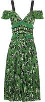 Self-Portrait Cold-shoulder Lace-trimmed Floral-print Plissé-crepe Dress - Green