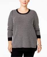 Charter Club Plus Size Geo-Stripe Sweater, Only at Macy's