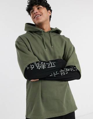 ASOS DESIGN oversized hoodie with double layer & multi placement print
