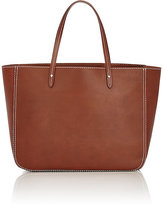 Barneys New York Women's Contrast-Topstitched Tote-Brown
