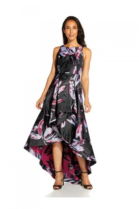 Adrianna Papell Floral Jacquard Gown In Magenta Multi