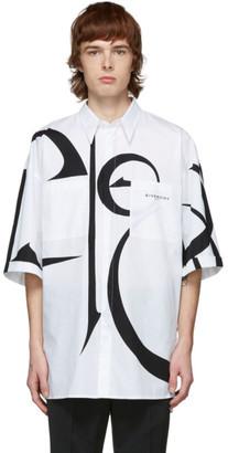 Givenchy White and Black Oversized Calligraphic Shirt