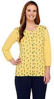 Liz Claiborne New York 3/4 Sleeve Pineapple Print Knit Cardigan