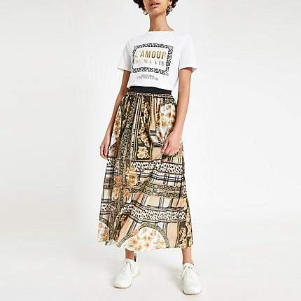 River Island Brown scarf print pleated midi skirt