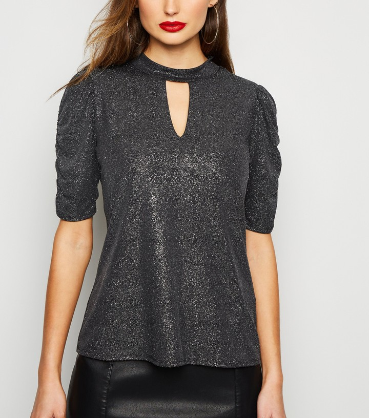 Thumbnail for your product : New Look Glitter Keyhole Puff Sleeve Top