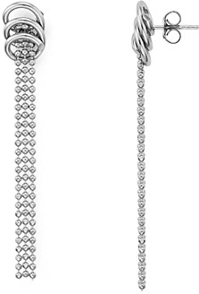 Argentovivo Ring & Ball Fringe Linear Drop Earrings 14K Gold-Plated Sterling Silver or Sterling Silver