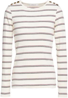 Frame Edie Button-detailed Striped Cotton Top
