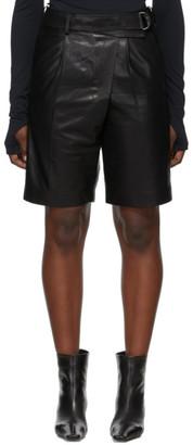 Helmut Lang Black Leather Wrap Shorts