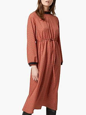 French Connection Caprice Long Sleeve Waist Dress, Cinnamon Stick/Multi
