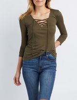 Charlotte Russe Ribbed Lace-Up Tee