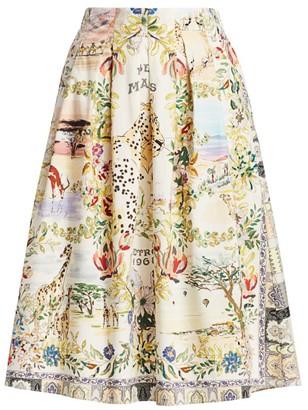 Etro Safari Print Pleated Midi Skirt