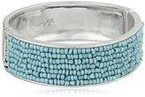 "Kenneth Cole New York Poolside Turquoise"" Seed Bead Hinged Bangle Bracelet"