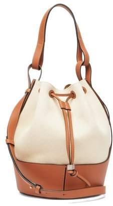 Loewe Balloon Medium Leather And Canvas Shoulder Bag - Womens - Cream Multi