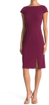 Donna Morgan Cap Sleeve Boat Neck Side Slit Dress