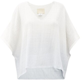 Anaak Kai V-neck Dip-dyed Cotton Top - White Multi