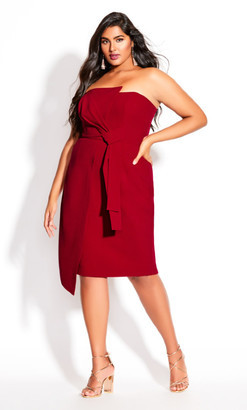 City Chic Origami Dress - red