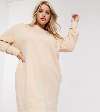 Nike Plus washed jersey sweater dress in beige