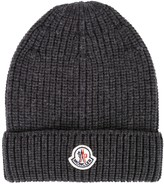 Moncler Grey Ribbed Wool Beanie