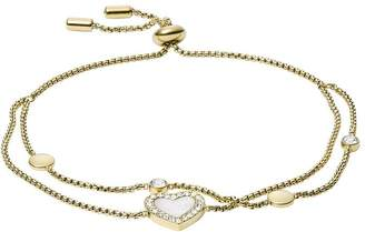 Fossil Vintage Glitz Gold and Mother of Pearl Heart Ladies Toggle Bracelet