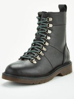 Very Leather Lace Up Ankle Boots - Black