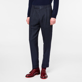 Paul Smith Men's Navy Mini Buffalo Check Wool-Linen Tapered Trousers