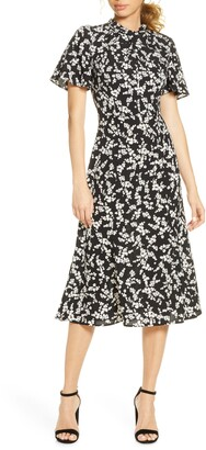 French Connection Bruna Floral Twist Neck Fit & Flare Dress