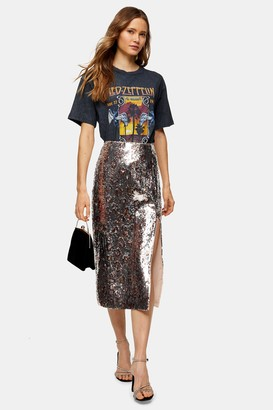 Topshop Silver Leopard Print Sequin Pencil Skirt