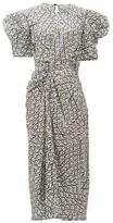 Preen by Thornton Bregazzi Xantha Scale-print Draped-sleeve Satin Dress - Womens - White Print