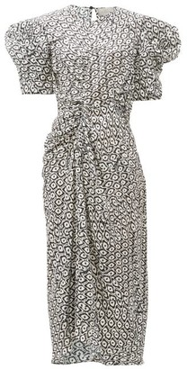 Preen by Thornton Bregazzi Xantha Scale-print Draped-sleeve Satin Dress - White Print